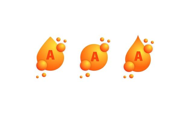 비타민 a 아이콘 세트입니다. 뷰티 트리트먼트 영양 스킨 케어 디자인. 건강 약 알약 보충 에센스. 격리 된 흰색 배경에 벡터입니다. eps 10.