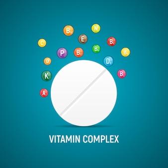 비타민과 항산화 복합체. 벡터 일러스트 레이 션