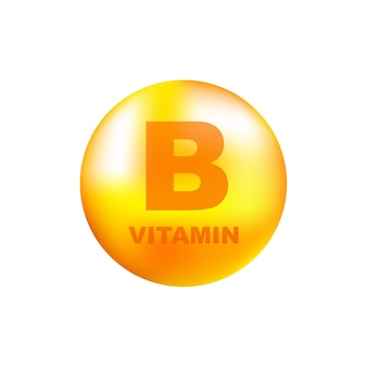 Vitamin b with realistic drop on gray