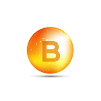 Витамин b, желтая капсула. желтый пузырь, реалистичный векторный дизайн.