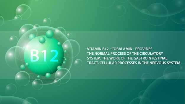 Витамин b12, зеленый информационный плакат с абстрактной лекарственной капсулой витамина b12