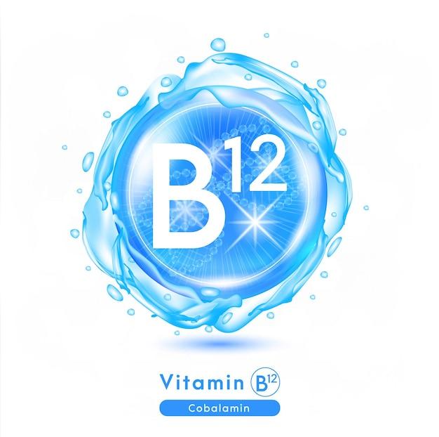 Значок витамина b12 сияющая синяя капля эссенции витаминный комплекс с химической формулой