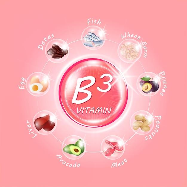 비타민 b3 핑크 알약 캡슐 과일과 채소 노화 방지 미용 향상 개념