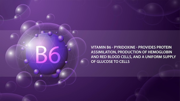 Витамин b6, фиолетовый информационный плакат с фиолетовой абстрактной капсулой витамина b6