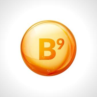 비타민 b9 골드. 엽산 트리트먼트 스킨 케어. 건강한 알약 자연 의학 비타민 영양.