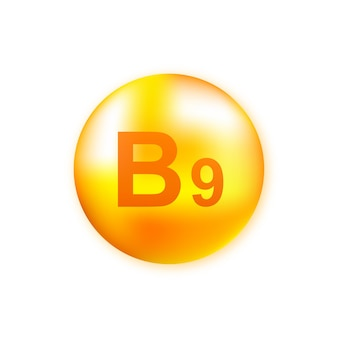Vitamin b9 with realistic drop on gray
