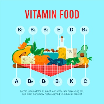 Витаминные напитки и еда инфографики