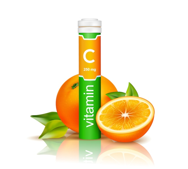 Vitamin c in colorful plastic container and oranges with green leaves on white background 3d