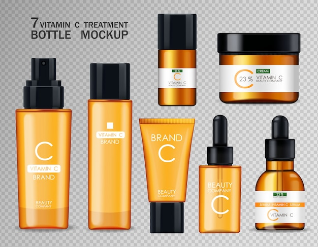 Vitamin c cosmetics, mask, cream and serum set, beauty company, skin care bottle, realistic package  and fresh citrus, treatment essence, beauty cosmetics