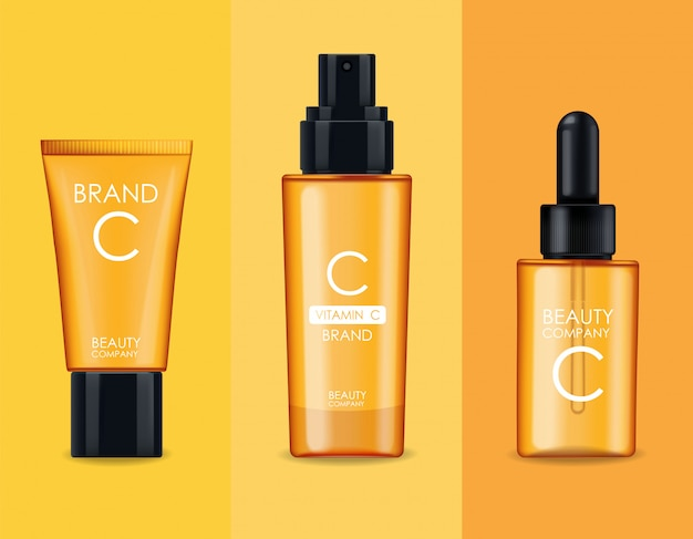 Vitamin c cosmetics, mask, cream and serum set, beauty company, skin care bottle, realistic package  and fresh citrus, treatment essence, beauty cosmetics,