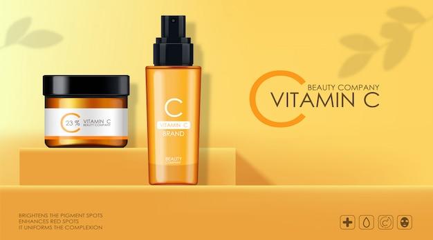 Набор витаминов с кремом и сывороткой, косметическая компания, бутылка для ухода за кожей, реалистичная упаковка и свежие цитрусовые, лечебная эссенция, косметическая косметика, желтый фон
