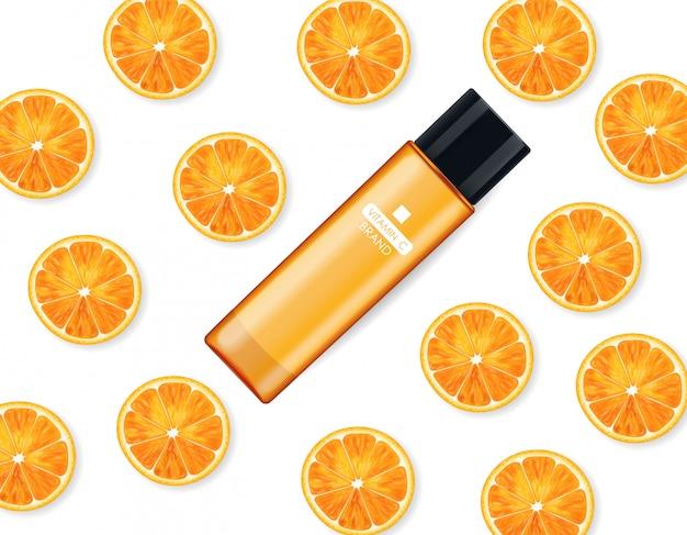 Крем с витамином с, косметическая компания, флакон для ухода за кожей, реалистичный макет упаковки и свежие цитрусовые, лечебная эссенция, косметика для красоты, белый фон - векторный баннер