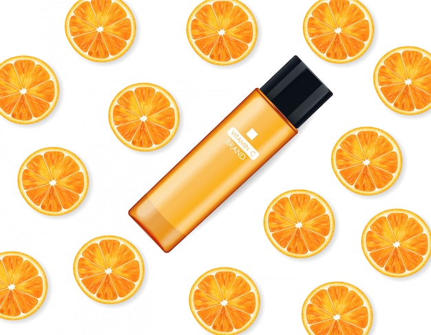 Vitamin c cream , beauty company, skin care bottle, realistic package mockup and fresh citrus, treatment essence, beauty cosmetics, white background vector banner