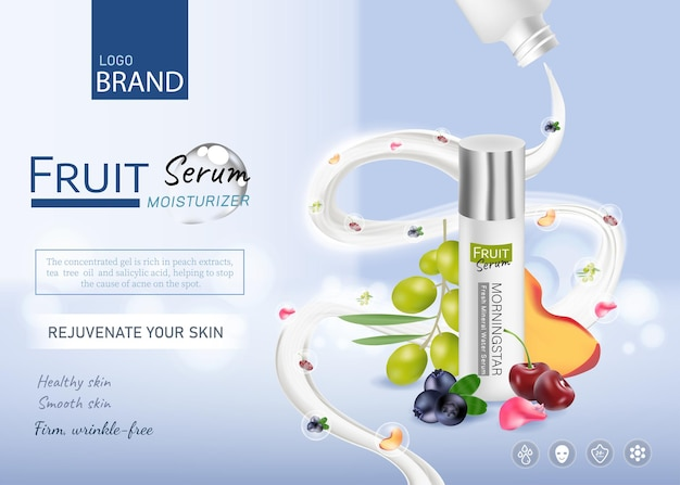 Vitamin c essence ads with fruit and flower with droplet bottle and splashing milk 3d illustration