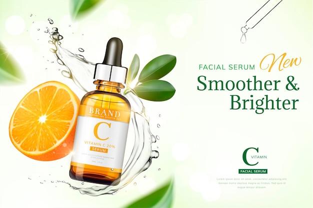 오렌지와 투명 액체가 공중에 떠있는 비타민 c 에센스 배너, 3d 그림 녹색 톤 표면