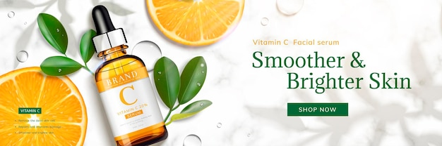 Vitamin c essence banner with sliced orange and droplet bottle laying on marble stone table, 3d illustration top view