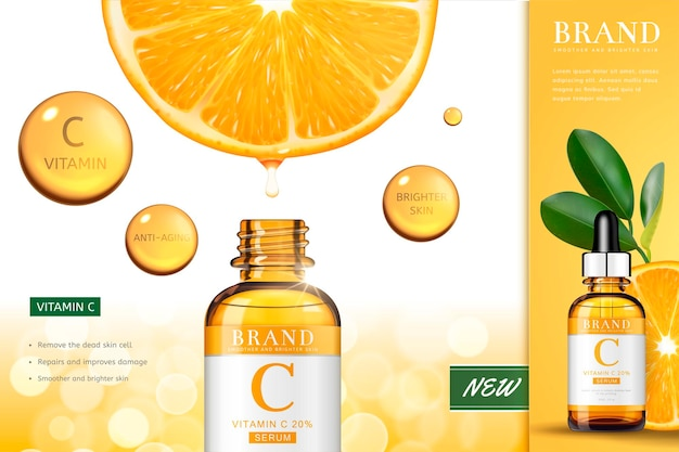 Vitamin c essence banner with sliced orange serum dripping down into the droplet bottle, 3d illustration bokeh surface
