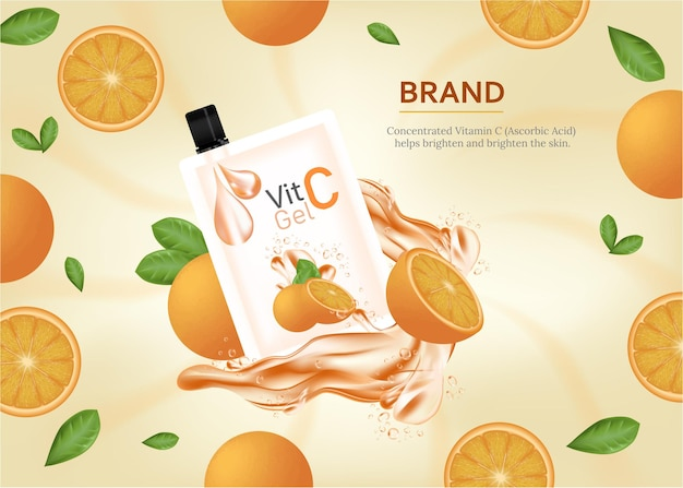 Vitamin c gel collagen essence ads with sliced orange and droplet bottle laying on marble