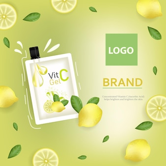 Vitamin c gel collagen essence yellow ads with sliced melon and bottle laying