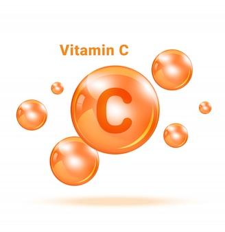 흰색 배경 illuestration에 비타민 c 그래픽 의학 거품. 건강 관리 및 의료 컨셉 디자인.