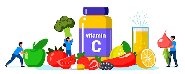 ビタミンc健康的な食事と食事ビタミンcが豊富なさまざまな食品栄養補助食品とヘルスケア