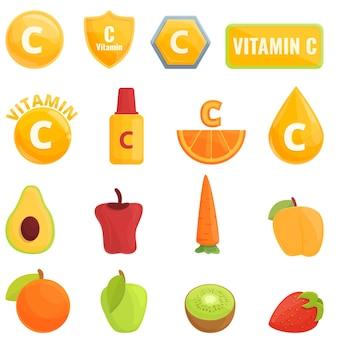 ビタミンcのアイコン。分離されたビタミンcアイコンの漫画