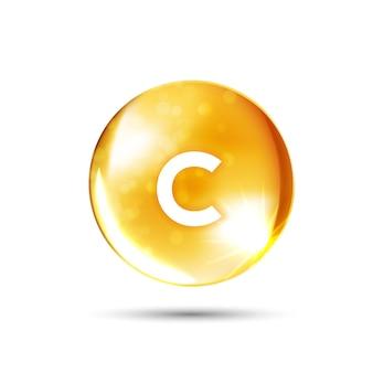 히스 광고 치료 감기 독감 및 영양을 위한 황금 물질 드롭 약을 빛나는 비타민 c 아이콘