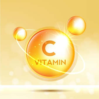 Vitamin c icon shining golden substance drop meds for heath ads treatment cold flu