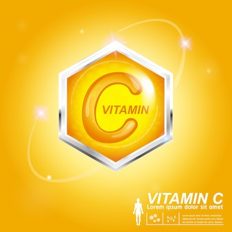 Vitamin c nutrition logo label  concept