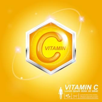 비타민 c 영양 로고 라벨 개념