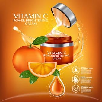 상쾌한 시트러스 섹션과 물방울 병이있는 비타민 c 세럼 광고