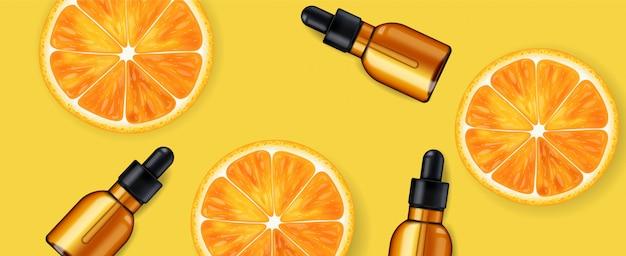 Сыворотка с витамином с, косметическая компания, бутылка для ухода за кожей, реалистичная упаковка и свежие цитрусовые, лечебная эссенция, косметическая косметика