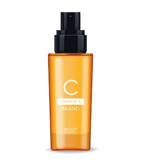 Сыворотка с витамином с, косметическая компания, бутылка для ухода за кожей, реалистичная упаковка и свежие цитрусовые, лечебная эссенция, косметика для красоты