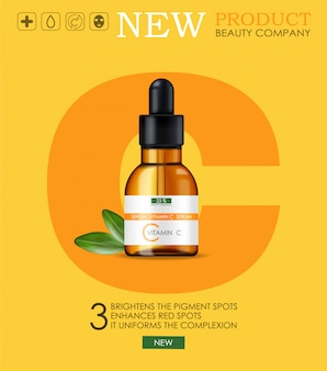 Vitamin c serum, beauty company, skin care bottle, realistic package  and fresh citrus, treatment essence, beauty cosmetics, yellow background