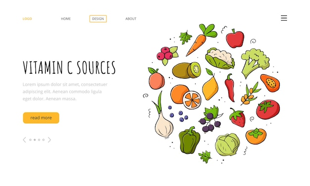 Vitamin c sources landing page template. set of vegetables, fruits, berries.