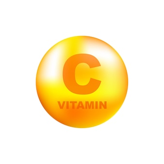 Vitamin c with realistic drop on gray
