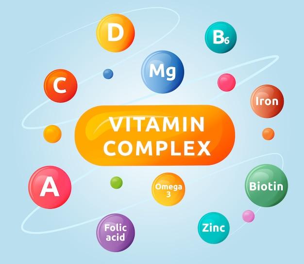 Vitamin complex cartoon illustration