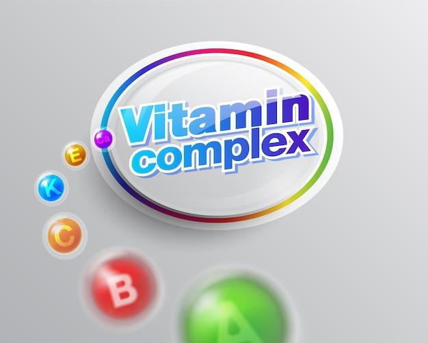 健康的な生活のためのビタミン複合体ラベルロゴのインスピレーション
