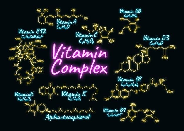 비타민 복합 네온 스타일 일러스트. 화학식 및 구조