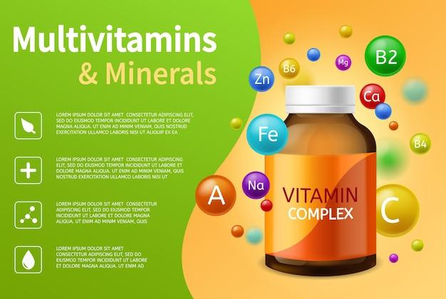 ビタミン複合体。マルチビタミン、ミネラル、カラフルな空飛ぶ泡、ビタミンボール広告ポスターベクトルヘルスケア薬局の背景とコピースペースを備えたリアルなプラスチックボトル