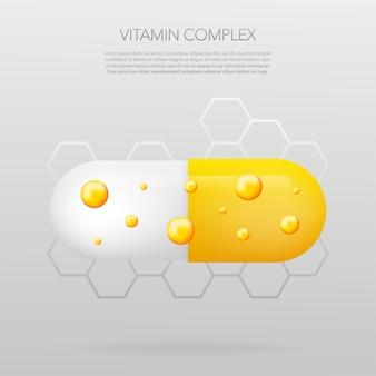 灰色の背景にリアルなピルとビタミン複合体。真ん中にビタミンの粒子。
