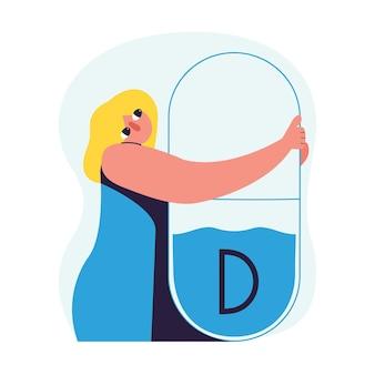 ビタミンd欠乏症の概念。女の子はビタミンを抱きしめます。フラットスタイルのベクトル図