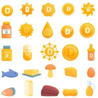 Значок витамина d. мультфильм значок витамина d изолированы