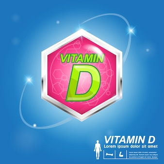 Vitamin d nutrition and vitamin - concept logo products for kids.