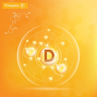 Vitamin d and structure. 3d vitamin complex with chemical formula.