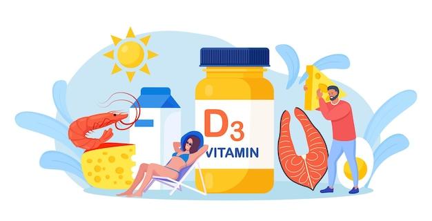 비타민 d. 생선, 비타민 한 병, 치즈, 우유, 새우, 계란이 있는 작은 사람들. 여성이 일광욕을 하고 결핍 감소를 위해 식품 보조제를 사용합니다. 웰빙과 건강