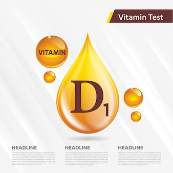 Vitamin d1 icon collection vector illustration golden drop