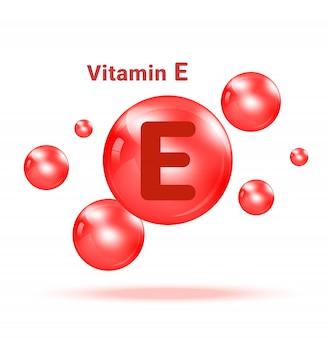 Пузырь медицины витамина e графический на белой иллюстрации предпосылки. здравоохранение и медицинская концепция дизайна.