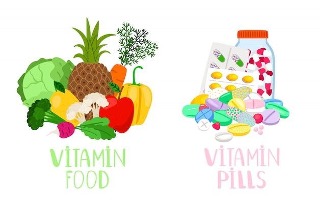 ビタミン食品と錠剤