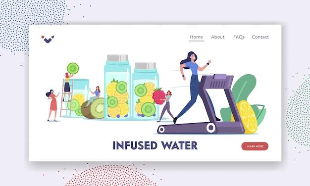비타민 식품 방문 페이지 템플릿입니다. 해독 다이어트, 건강한 생활 방식. 주입된 과일 물을 요리하는 캐릭터, 신선한 유기농 과일 또는 야채의 스무디를 마시는 것. 만화 사람들 벡터 일러스트 레이 션